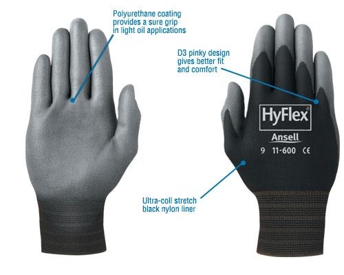 11 600 R3 Safety Hyflex Lite Black Poly Glove