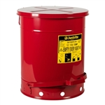 09500 - Justrite 14 Gallon Oily Waste Can w/ Foot Operated Cover
