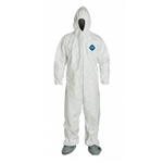 1414LG - DuPont Tyvek® Coverall, Zipper Front, Attached Hood & Tyvek FC® Coated Boots, Elastic Wrists. - LG - CLOSEOUT PRICE!!!