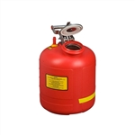 14565 - Justrite 5 Gallon (19L) Polyethylene Can with Stainless Steel Hardware with 08530 Fill Gauge Built-in