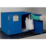 24120 - Justrite Blue Non-Metallic Storage Cabinet with 2 Sliding Doors, Holds Six 2.5 Liter Bottles