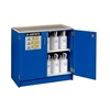 24140 - Justrite Blue Non-Metallic Storage Cabinet with 2 Sliding Doors, Holds Thirty-Six 2.5 Liter Bottles