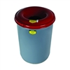 26430 - Justrite 30 Gallon Heavy-Duty Steel Cease-Fire Waste Receptacle in Grey with Painted Red Heads