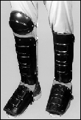 +334 - Ellwood Safety Plastic Knee-Shin-Instep Guard Padded w/ Sponge Rubber & Fastened w/ Elastic Straps