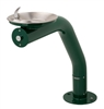 3380 - Haws Round Barrier Free Green Pipe Pedestal w/ Stainless Steel Bowl