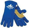 4500 - MCR Safety Blue Select Leather Welder Sewn w/ KEVLAR, Thumb and Palm Pad w/ Foam Lining - XL