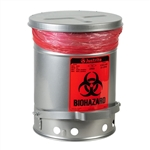 5914 - Justrite Silver 6 Gallon (23L) Biohazard Waste Can with Foot Operated Cover