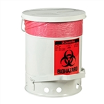 5915 - Justrite 6 gallon (23L) Biohazard Waste Can with Foot Operated Cover
