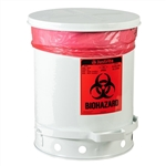 5930 - Justrite 10 Gallon Biohazard Waste Can with Foot Operated Cover