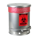 5934 - Justrite Silver 10 Gallon (38L) Biohazard Waste Can with Foot Operated Cover
