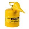 7150210 - Justrite Type One Yellow Safety Can Five Gallon Capacity with Funnel