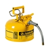 7210220 - Justrite Yellow Type Two Accuflow Safety Can One Gallon Capacity