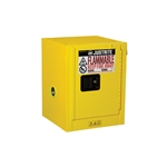 890400 - Justrite Yellow 4 Gallon Countertop Cabinet with Sure-Grip EX and 1 Manual Door