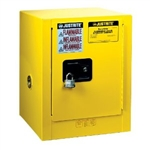 8904204 - Justrite Yellow 4 Gallon Countertop Cabinet with Sure-Grip EX and 1 Self Closing Door