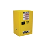 891200 - Justrite Yellow 12 Gallon Compac Cabinet with Sure-Grip EX and 1 Manual Door