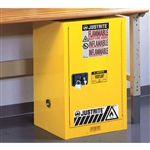 891220 - Justrite Yellow 12 Gallon Compact Cabinet with Sure-Grip EX and 1 Self Closing Door