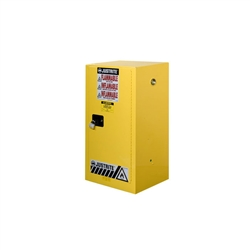 891500- Justrite15 Gallon Yellow Compac Cabinet with Sure-Grip EX and 1 Manual Door