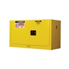 891700 - Justrite 17 Gallon Yellow Piggyback Safety Cabinet with Sure-Grip EX and 2 Manual Doors