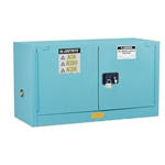 891722 - Justrite 12 Gallon Blue Steel Piggyback Safety Cabinet with Sure-Grip EX & 2 Self Closing Doors
