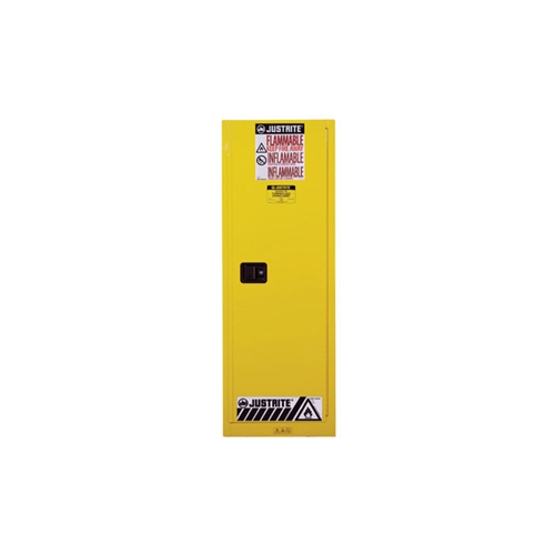 892220   Justrite 22 Gallon Yellow Slimline Safety Cabinet With Sure Grip  EX And 1 Self Closing Door