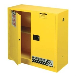 893000- Justrite Yellow 30 Gallon Sure Grip EX Safety Cabinet- Manual 2 Doors