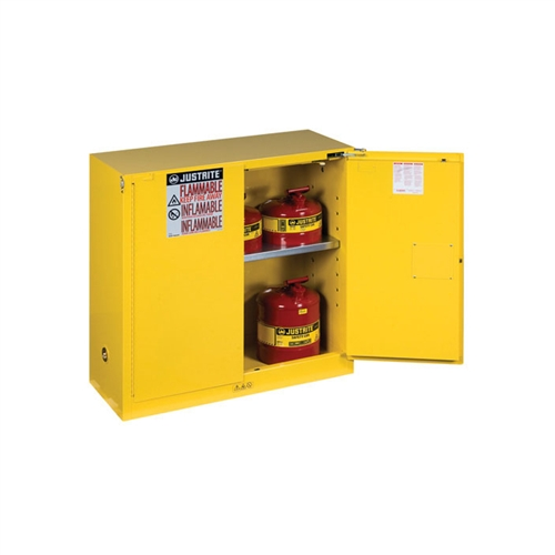 893020 Justrite Yellow 30 Gallon Safety Cabinet For
