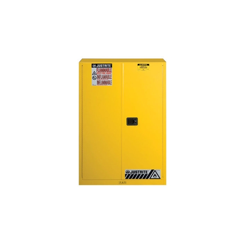 894500   Justrite Yellow 45 Gallon Safety Cabinet For Flammables With  Sure Grip EX And 2 Manual Doors