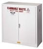 8945053 - Justrite 45 Gallon White Cabinet for Flammable Waste with Sure-Grip EX and 2 Manual Doors