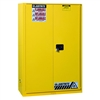 894590 - Justrite 60 Gallon Yellow Safety Cabinet for Combustibles with Sure-Grip EX & 1 Sliding Self Closing Door