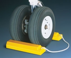 "AC3515-RP-P - Checkers® TigerChocks™ 3500 Series Aviation 15"" Wheel Chocks with 24"" Connecting Rope and Rubber Base"