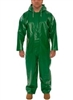 V41108 - Tingley Safetyflex Green Coverall with Attached Hood and Zipper Fly Front - XL